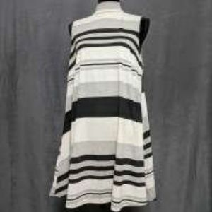 Hot Gal 1x Black, Cream, and Gray striped dress.